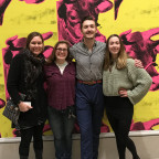 Art professor Janis Wunderlich, far left, with students at the ?Andy Warhol ? From A to B and Bac...