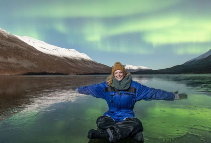 Tori Chaffee '21 on a weekend trip to Norway to see the northern lights during a semester stu...