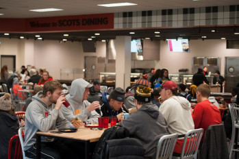 Students eating in Stockdale dining hall.