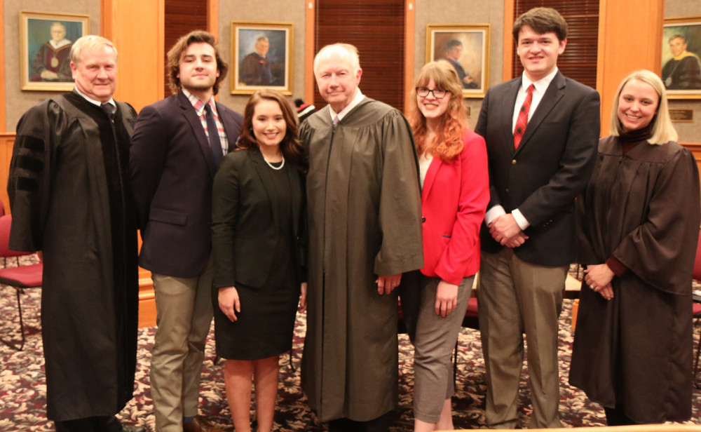 Emma Hildebrand '20 was named top advocate in this year's Moot Court competition. From le...