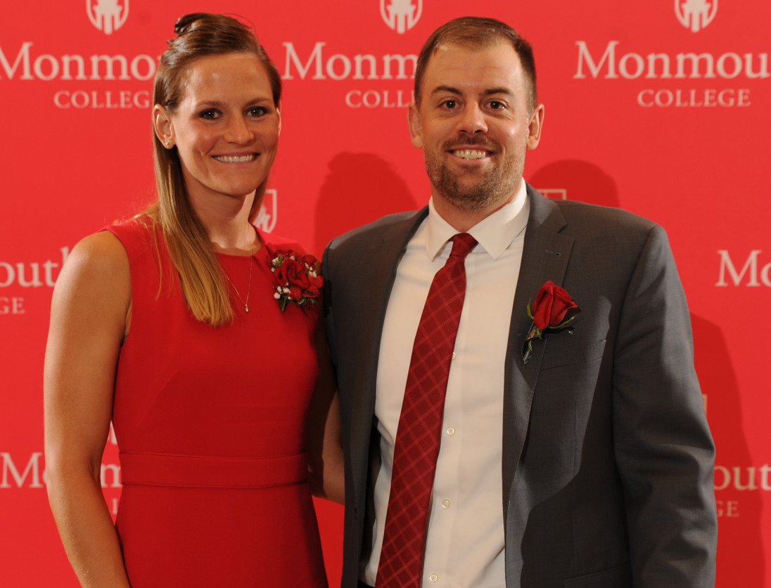Mitch Tanney ?06 at October's M Club Hall of Fame induction ceremony with his wife, Ashley Yeast ...
