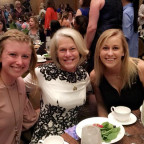 Gail Simpson Owen ?74 is pictured with Monmouth students Shelby Adams ?19 and Hannah Callahan ?20...