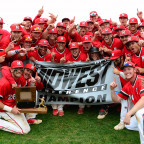 The Fighting Scots baseball team celebrates its Midwest Conference championship Saturday at Glasg...