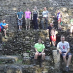 Faculty and students from Monmouth College pose at the La Danta pyramid at El Mirador, which they...