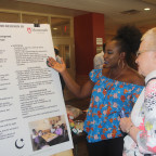 Farida Mohammed ?18 of Accra, Ghana, explains her group?s SOFIA project to Lila Blum during the p...