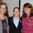 Christie Nelson ?06, center, is flanked by two of her Monmouth College faculty mentors, Anne Mama...