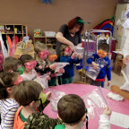 Chemistry students conduct experiments and demonstrations with students at the Lutheran Preschool...