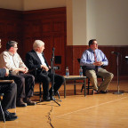 Speakers from the panel discussion ?Shaping the Future of Farming in Western Illinois? speak Thur...