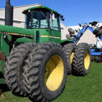 This tractor was among the pieces of equipment seen on a biology class trip to the farm of Paul R...
