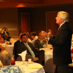 Monmouth College President Clarence R. Wyatt speaks during the Monmouth Associates luncheon.