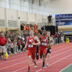 James Wilson and Ethan Reschke are shown competing in the 400-meter dash, one of two sprint races...