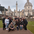 The Monmouth group in front of Trajan?s Column, a triumphal column that commemorates Roman empero...