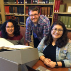 Students Melissa Hernandez (left) and Diana Rubi accompanied Visiting Assistant Professor of Phil...