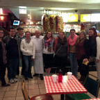 Students from the recent ?Seriously Creative? trip to Chicago enjoy a stop at the famous Billy Go...
