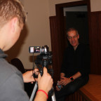 Massimo Pigliucci sits for an interview while on campus to give this year?s McMullen Lecture.