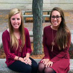 Katy Rees (left), a senior public relations major from Bolingbrook and Katy Tolsky (right), a jun...