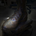 Pictured here is one foot of ?Scots Spirit,? the 6-foot bronze statue that will be unveiled Satur...