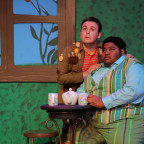 From left, Kyle Dickson (Toad) and Jamar Jones (Frog) rehearse a scene from Monmouth College?s pr...
