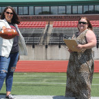 Faculty members Jen Braun, left, and Marjorie Bond are studying football coaches? heart rates dur...