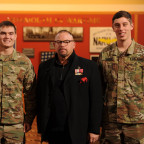 Brandon Graeff, left, and Brock Crippen, right, were congratulated on their ROTC national scholar...