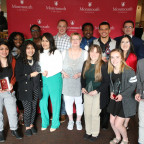 Students, faculty and staff recognized at the Highlander Leadership Awards: front row, from left:...