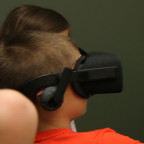 College for Kids students investigate virtual reality during a class taught by Monmouth staff mem...