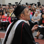 Inspirational speaker Ron Gold addresses Monmouth College?s Class of 2019. Because of rains and c...