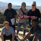 Monmouth College students who traveled to Greece over spring break included, in front row, from l...