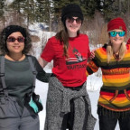 Pictured during a snowshoe hike of the Kelly Campus of the Teton Science Schools are the five Mon...