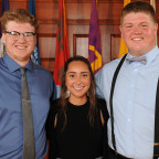 Three of the students of the year. From left: Troy Hippen, Keeley Brinkmeier and John Hintz.