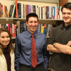 Political science professor Andre Audette, center, Emma Hildebrand and Joe Doner on a new non-par...
