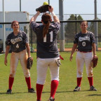 The Fighting Scots softball team gets loose before a game in Florida in 2017.