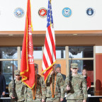 Monmouth College?s Color Guard retires the colors at the close of the Veterans Day ceremony Monda...
