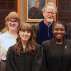 For the second consecutive year Hadley Smithhisler ?20, far left, won the Moot Court competition....