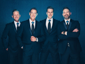 The Southern gospel quartet Signature Sound, led by founder Ernie Haase (second from left), will ...