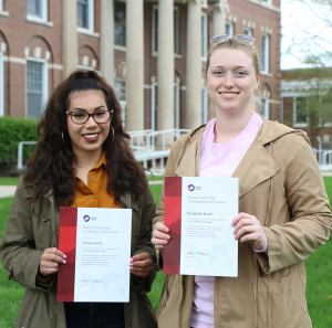 PEACE CORPS PREP: Yulissa Avila, left, and Elizabeth Smith are the first graduates of the College...