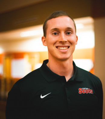 Physical education major Joshua Gross '20 teaches elementary physical education in Bloomingto...
