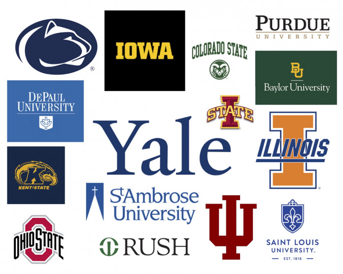 University of Iowa, Colorado State, Purdue, Baylor, Iowa State, Yale, St. Ambrose University, Rus...