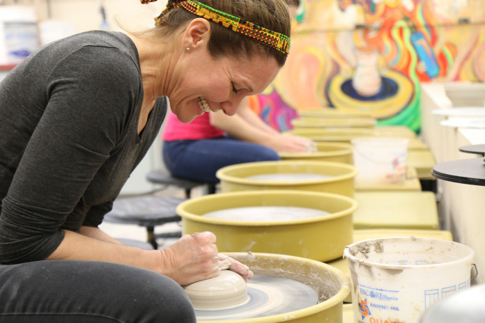 Janis Wunderlich, Art, in our ceramics lab located in McMicheal Academic Hall.