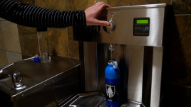 Water bottle refilling stations are located throughout campus.