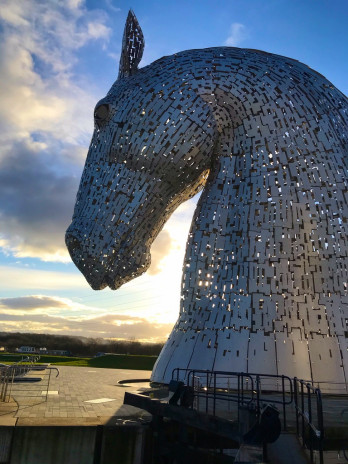 The Kelpies are 30-metre-high horse-head sculptures in the Falkirk Council Area, Scotland depicti...